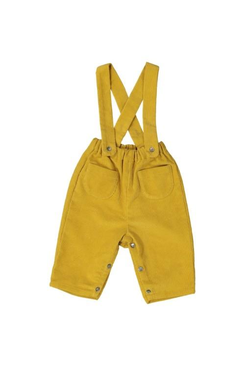 pantalon bébé coton bio jaune velours mimosa