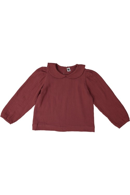 blouse fille risu risu sage gaze bio bordeaux
