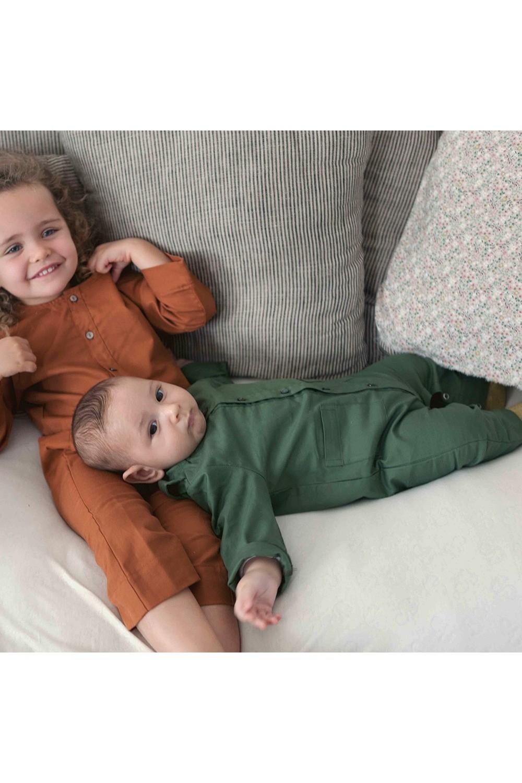 combinaison bébé coton bio vert mousse
