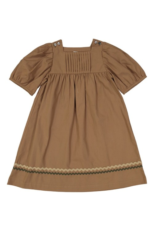 organic cotton girls 'dress candella brown