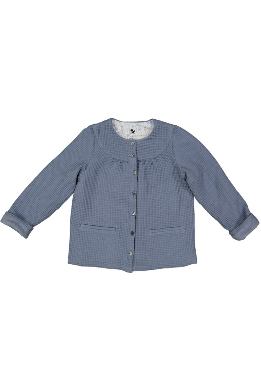 veste enfant  doublée coton bio waffle bleu