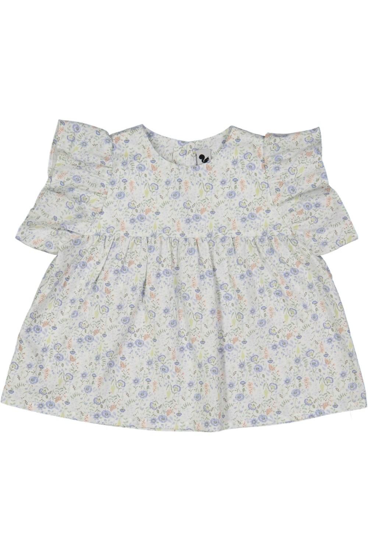 blouse bébé  fille été fleurs bio