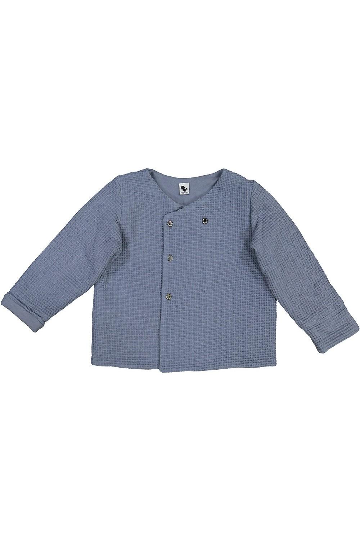 veste enfant mixte en coton bio waffle bleu