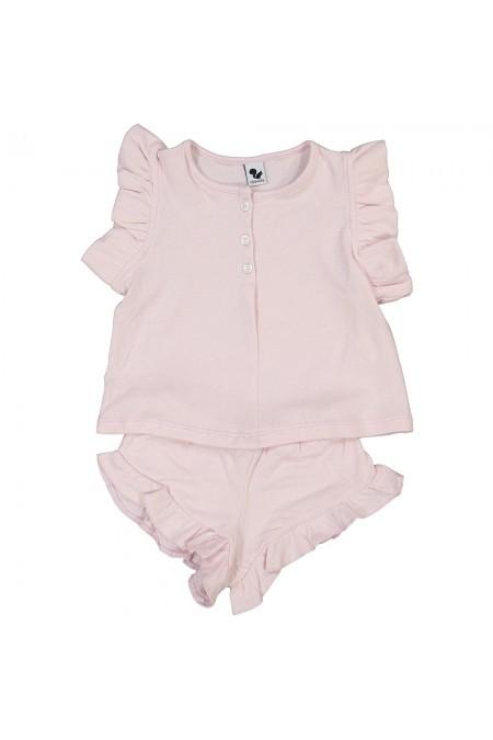 organic cotton girl pajama risu risu nuvola pink