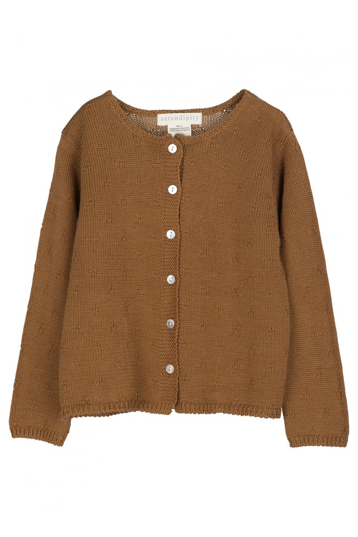 cardigan enfant brun coton bio serendipity