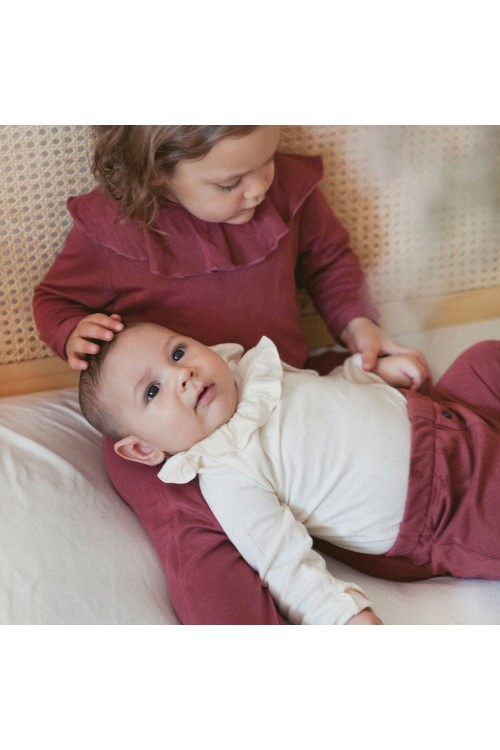 body bébé col volant coton bio écru