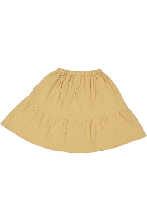 jupe jaune été fille mi longue gaze de coton bio