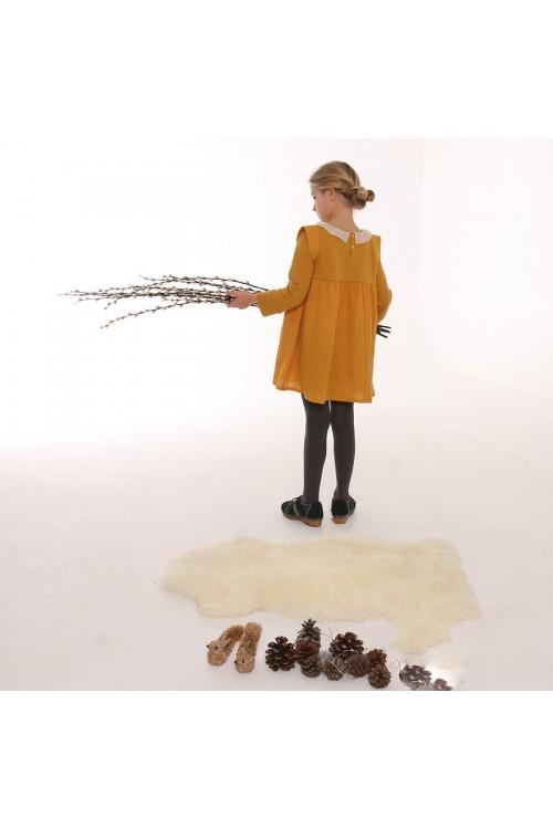 Robe bi-matière en jersey piqué et mousseline de coton bio