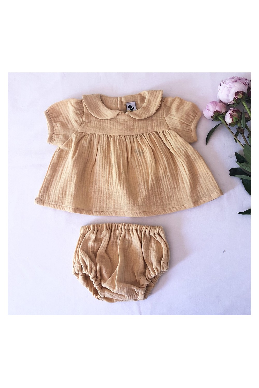 robe bébé bio été jaune coton bio octopus