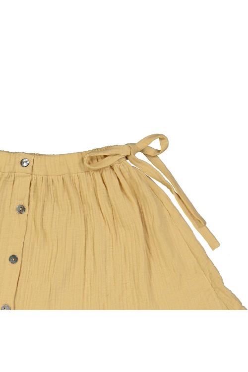 détail jupe ceinture noeud jaune été