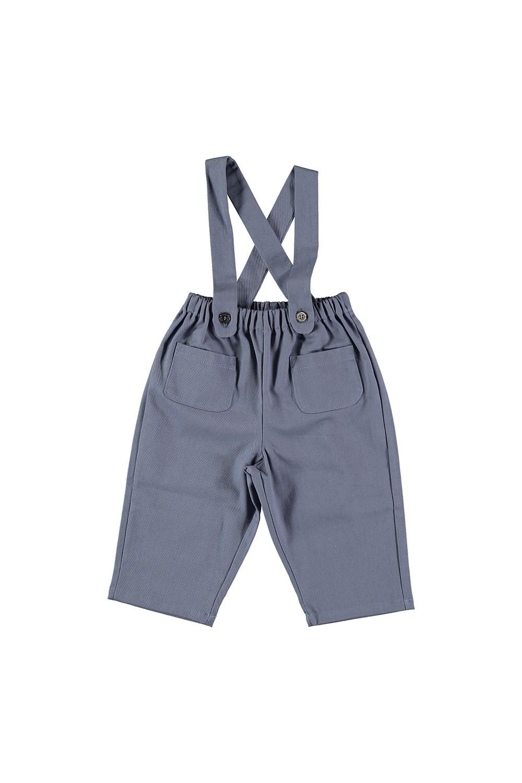 pantalon bébé bretelles bleu coton bio