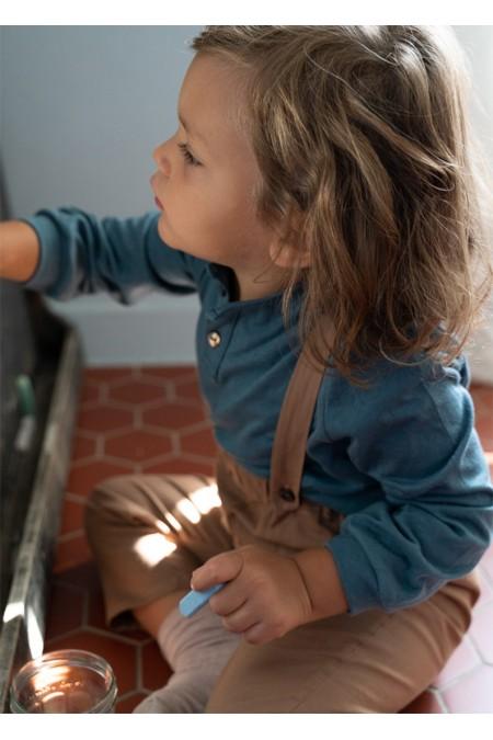 pantalon bébé à bretelles toile bio marron risu risu