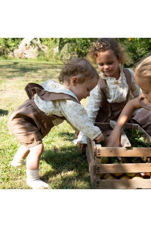 combinaison bébé cyclamen toile de coton bio marron
