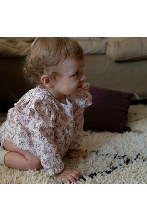 barboteuse bébé coton bio fleurs roses