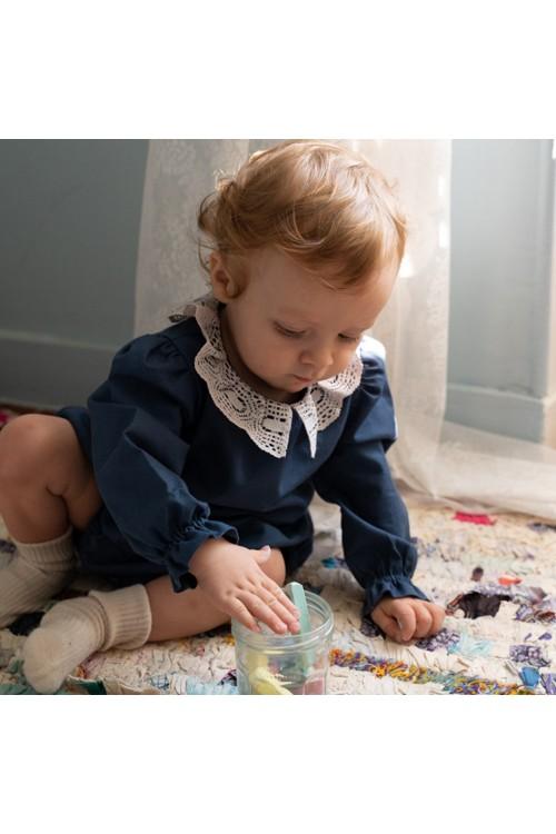 combinaison bébé crocus risu risu bleu de Prusse