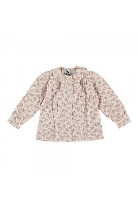 blouse fille gaze de coton bio fleurs ibiscus