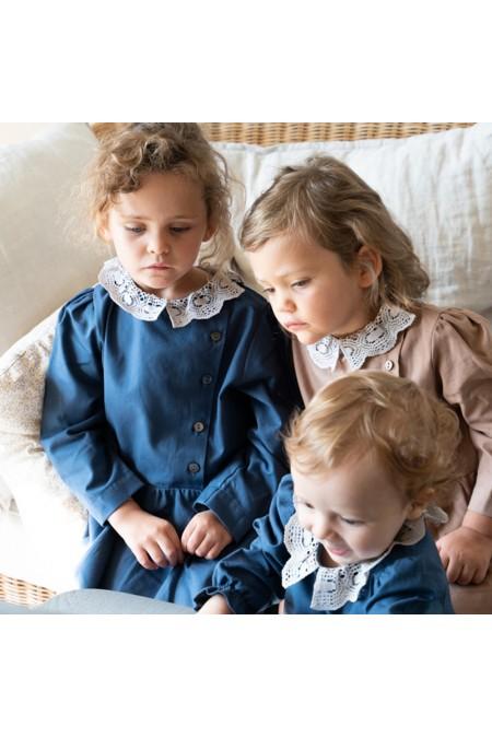 robes filles perce neige coton bio bleu et marron risu risu