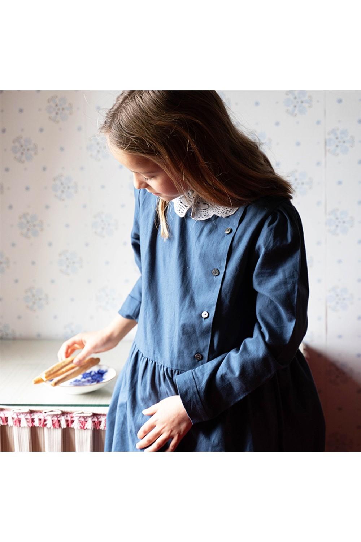 robe fille coton bio bleu perce neige