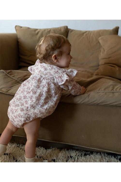 combinaison bio bébé manches longues risu risu camélia