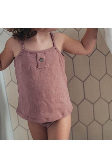 chemisette et culotte rose fille coton bio