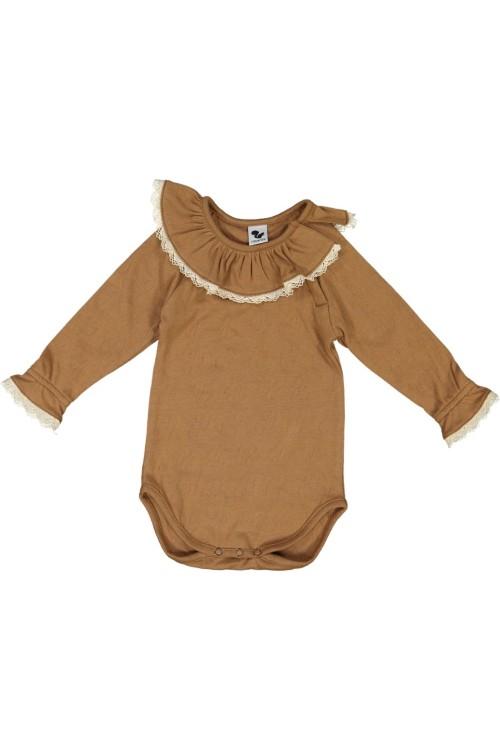 body bébé en coton bio et dentelles risu risu