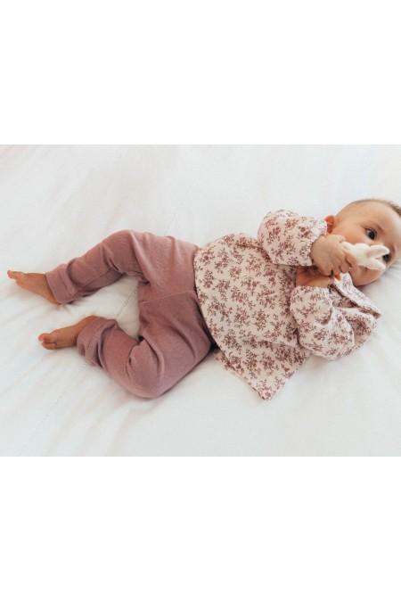leggings bébé jersey de coton bio rose parme risu risu