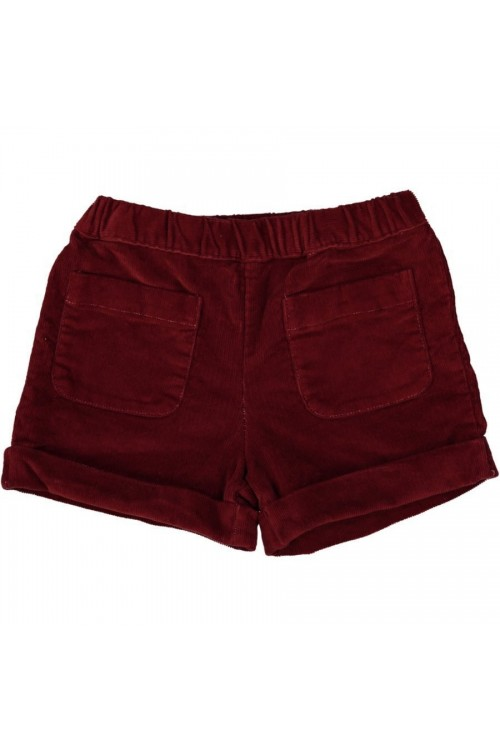 Short fille en velours bio rouge