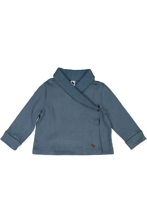 organic cotton night jacket cocoon blue