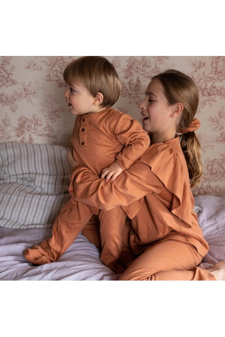 pyjama bébé garçon orange coton bio domino risu risu