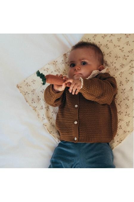 cardigan bébé coton bio marron tricot