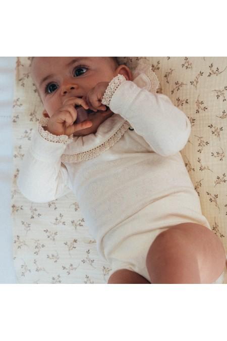 body bébé coton bio ecru dentelle risu risu