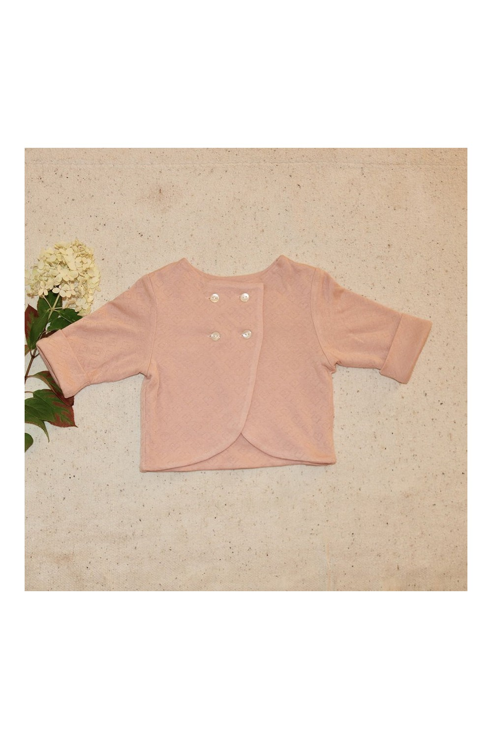diplomate baby jacket made of pink organic cotton