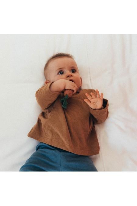 chemise peintre bébé marron jersey bio risu risu
