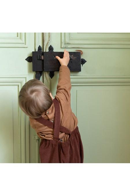 chemise bébé peintre risu risu marron manches longues
