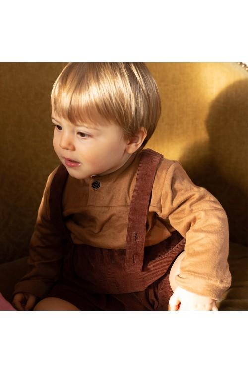 tunique bébé coton bio marron peintre risu risu
