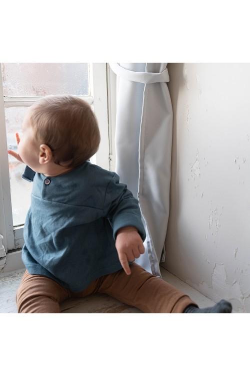 tunique bébé en coton bio bleu peintre