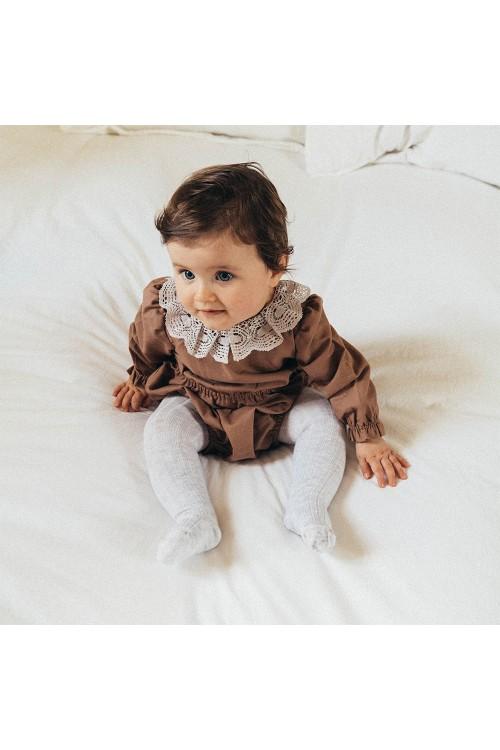 barboteuse bébé crocus earth risu risu coton bio