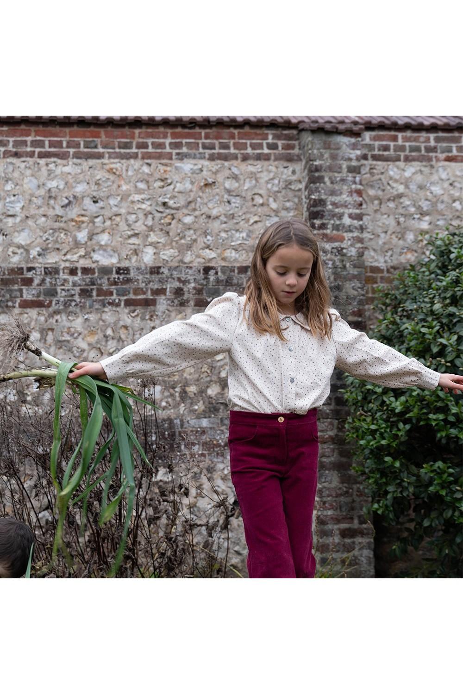 blouse fille ibiscus plumetis coton bio risu risu