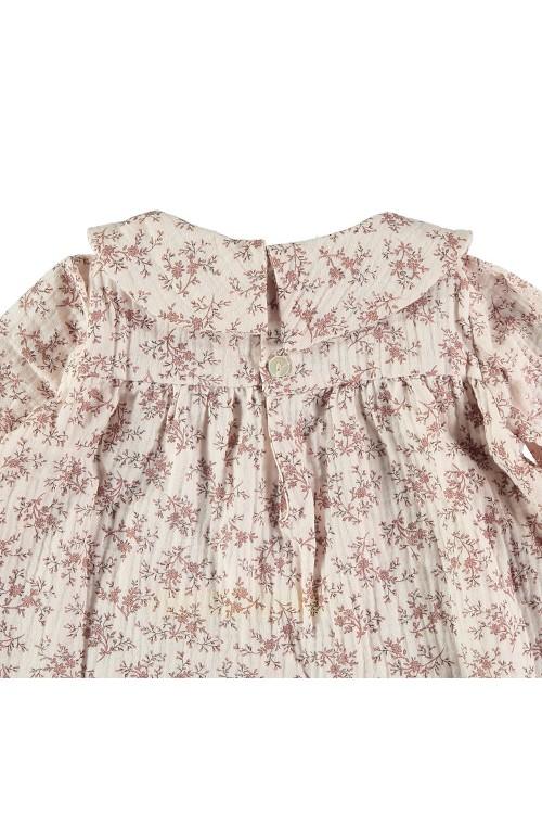 tunique bebe muse fleurs roses manches longues