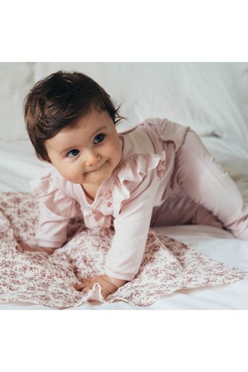 organic cotton baby pyjama examine pink