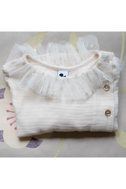 organic gauze girl Christmas blouse