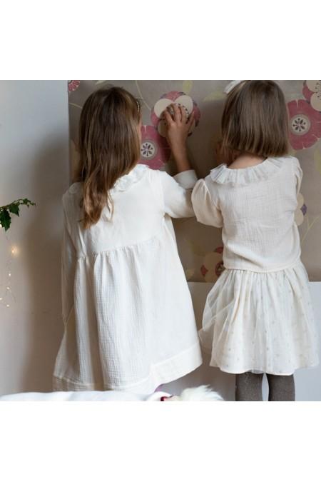 robe fille brodée mains risu risu blanc