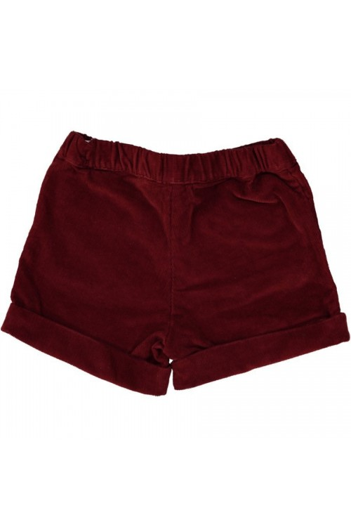 Short en velours bio rouge caramel