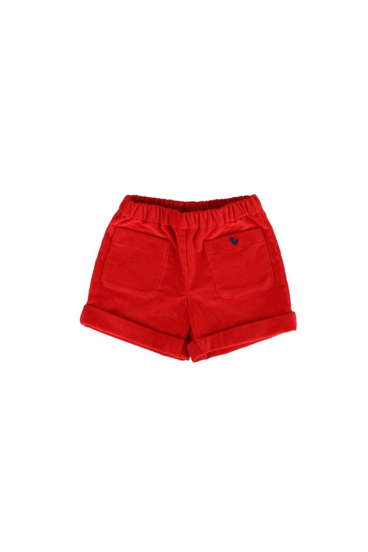 Short en velours bio rouge coquelicot