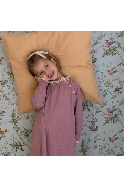 chemise de nuit harmonie coton bio rose dentelle