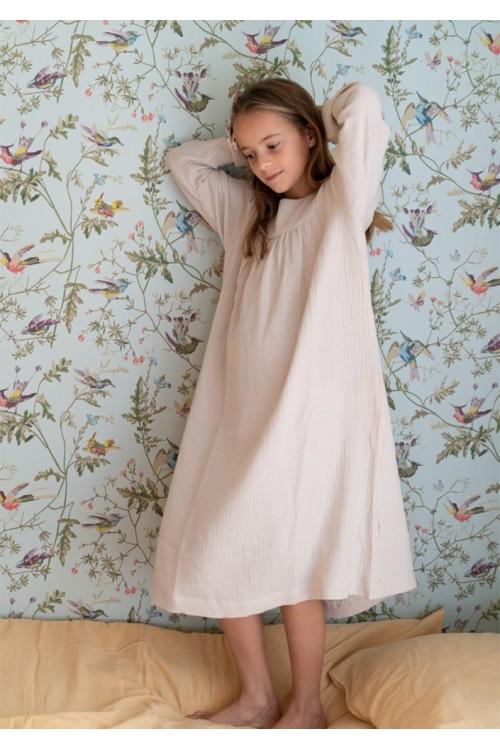 chemise de nuit fille lange bio sable