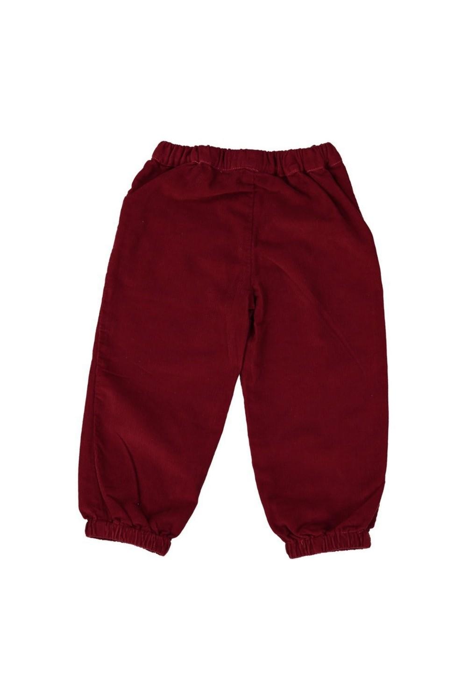 Pantalon velours rouge 100% bio devant