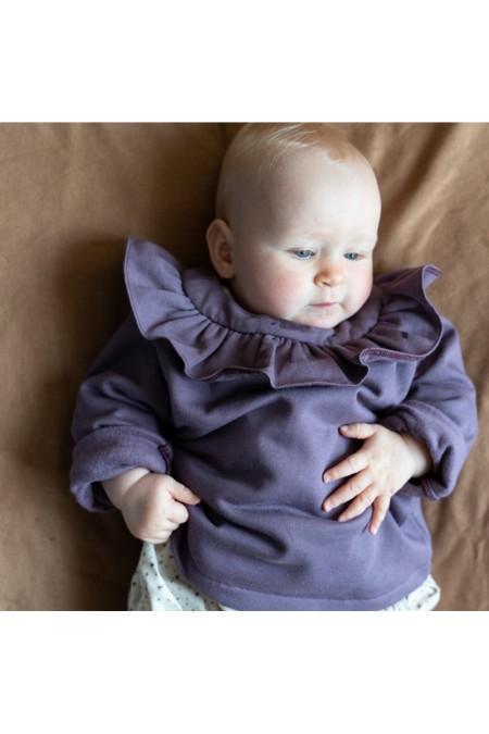 cardigan herbier bébé lilas coton bio