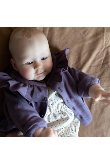 cardigan bébé risu risu coton bio parme