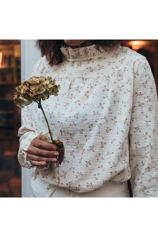 blouse femme risu risu romance gaze fleurs